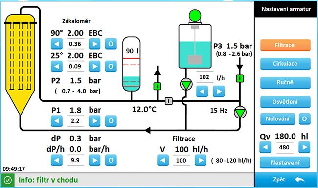 Svíčkový křemelinový filtr FKS - poloautomat