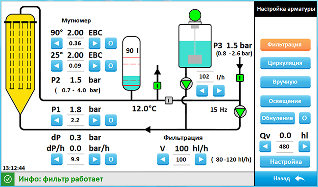 Варианты автоматизации кизельгурового фильтра FKSV -  Полуавтоматический вариант