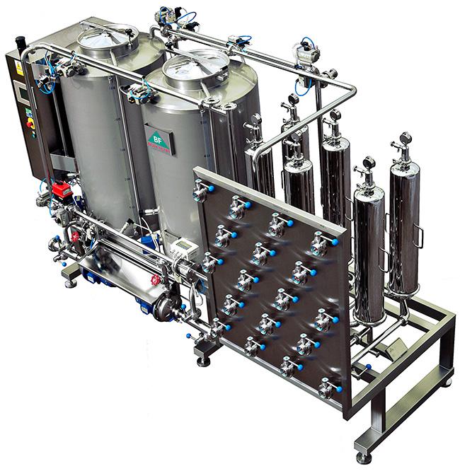 mikrofiltrační stanice s cip na filtraci vína v poloautomatické verzi
