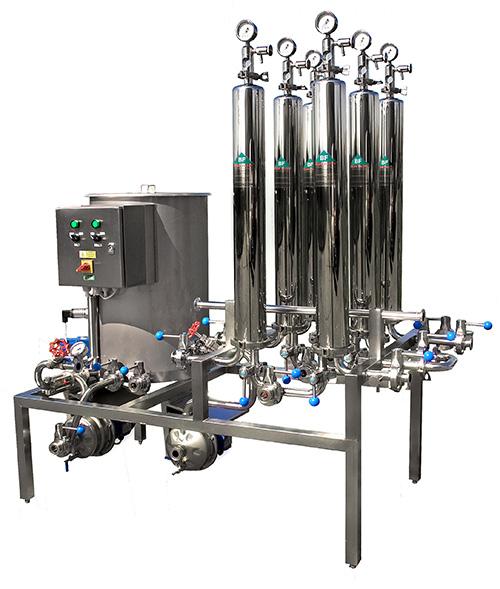 Mikrofiltrační sestava s CIP stanicí na koncovou filtraci vína