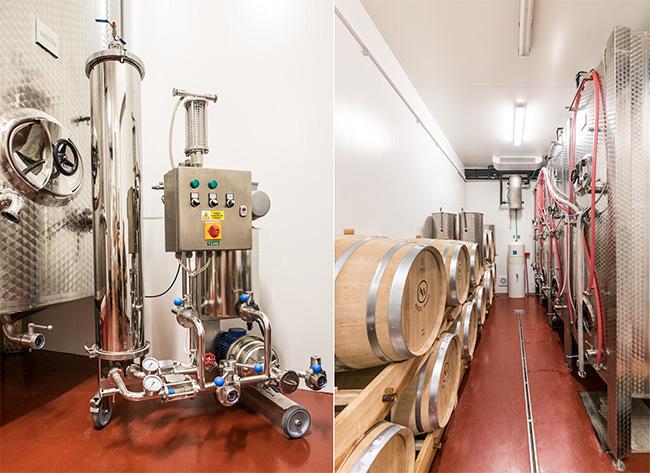 Svíčkový křemelinový filtr FKS 1 (vlevo), sklepní hospodářství vinařství Angel Wines (vpravo)