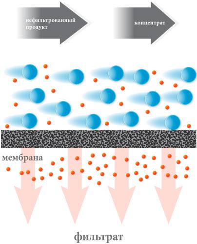 Принцип тангенцеидальной crossflow фильтрации - крестное течение