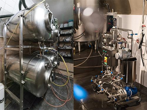 tanky a filtr na pivo v pivovaru Národní třída