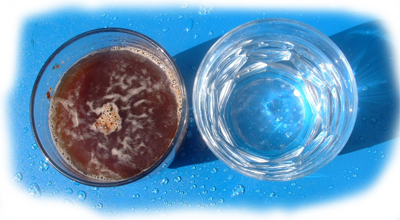 Сравнение чистоты воды  до и после фильтрации